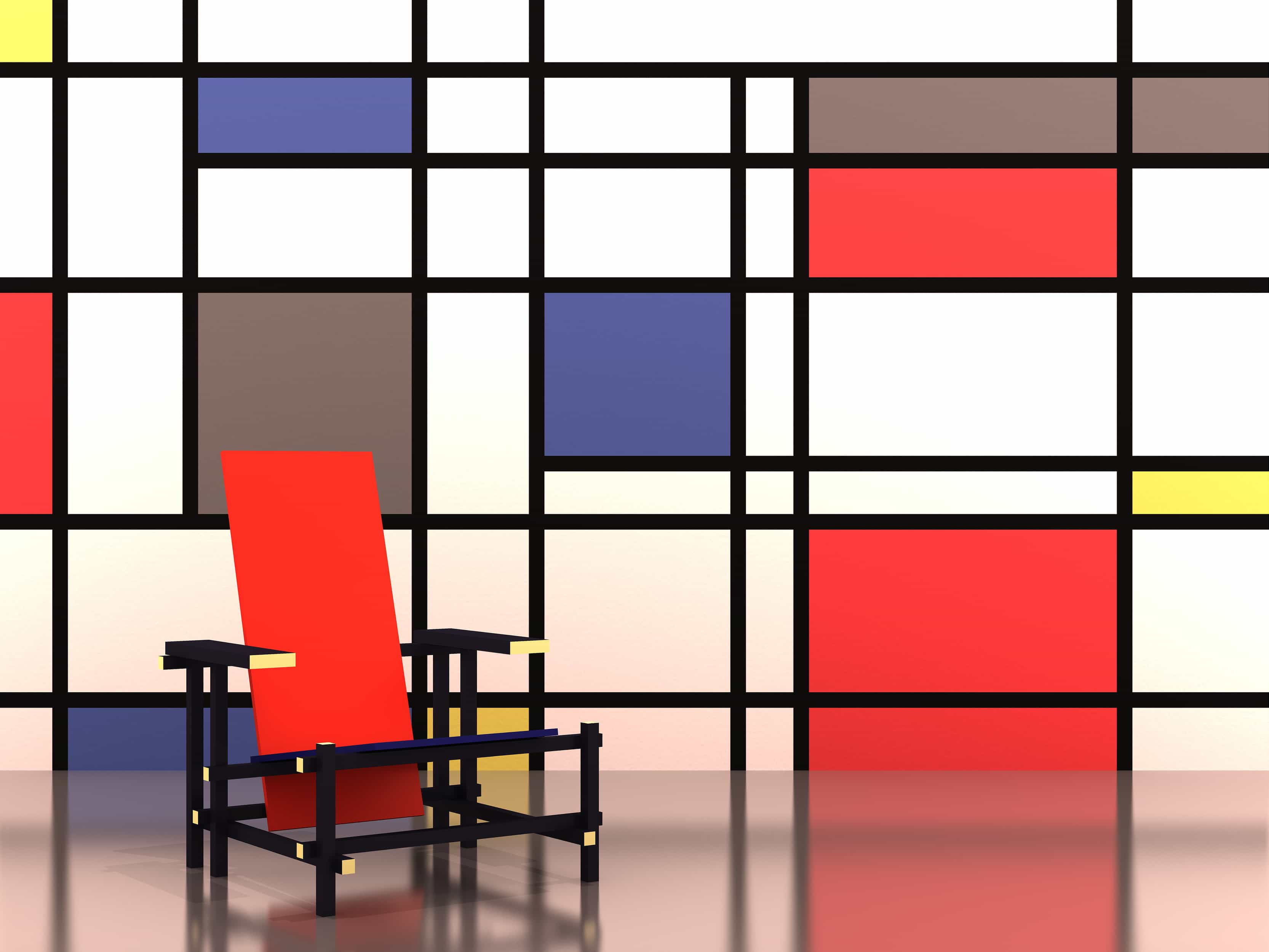 rietveldstoel-black red and blue chair