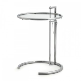 Classicon Adjustable table Adjustable Table Structuur chroom, blad helder kristalglas by designer:Eileen Gray