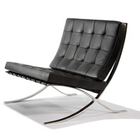Knoll Barcelona chair Barcelona chair, frame in hoogglans chroom, leder Volo zwart by designer:Ludwig Mies van der Rohe