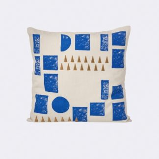 Ferm Living Block Cushion block cushion, mint en blauw