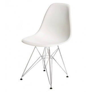 Vitra DSR DSR - Eames Plastic Side Chair, frame in chroom, witte schaal by designer:Charles & Ray Eames