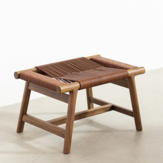 GianoGiano ottoman, Canaletto walnoot hout, gewoven leder 5015 tobacco