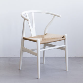 Wishbone chairwishbone chair - ch24 - beuk sof white - zitting papierkoord naturel
