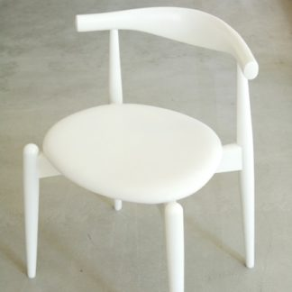 CH20 Elbow chairCH20 Elbow chair, Zit in leder Queen 5078 (groep B) frame in beuken wit gelakt
