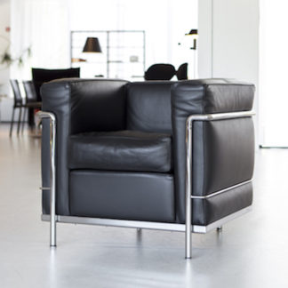 LC2LC2 - armchair - polyester padded cushions - chrome frame - black lcx leather