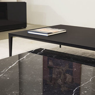 TrayTray - salontafel, blad in marmer nero marquino, basis zwart