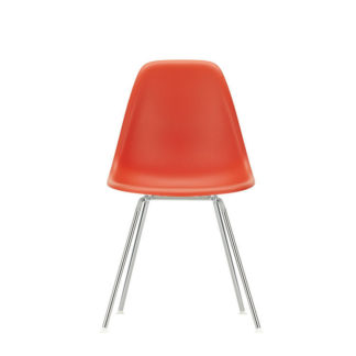 DSXEames Plastic Side Chair DSX, verchroomd, poppy rood