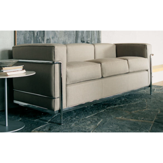 LC2LC2 - 3-seater sofa - polyester padded cushions - chrome frame - black lcx leather