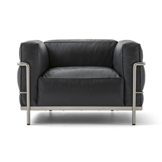 LC3LC3 - armchair - polyester padded cushions - chrome frame - black lcx leather