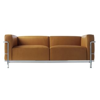 LC3LC3 - 2-seater sofa - polyester padded cushions - chrome frame - black lcx leather