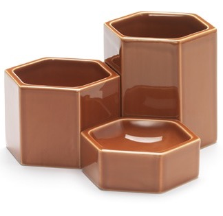 Hexagonal ContainersHexagonal Containers, rusty orange